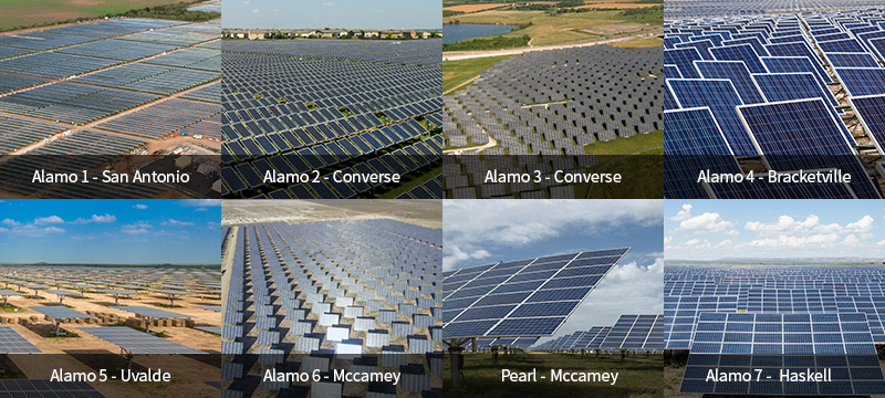 Alamo1 - San Antonio 50MW, Alamo2 - San Antonio 5MW, Alamo3 - San Antonio 7MW, Alamo4 Brackettville 50MW, Alamo5 Uvalde 114MW, Alamo6 - McCamey 110MW, Alamo6+ - Pecos County 50MW, Alamo7 - Haskell 132MW